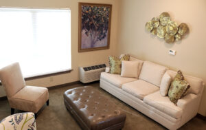 living room with temperature control in model home