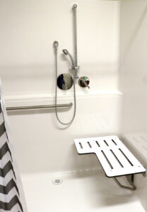 zero threshold shower with bench