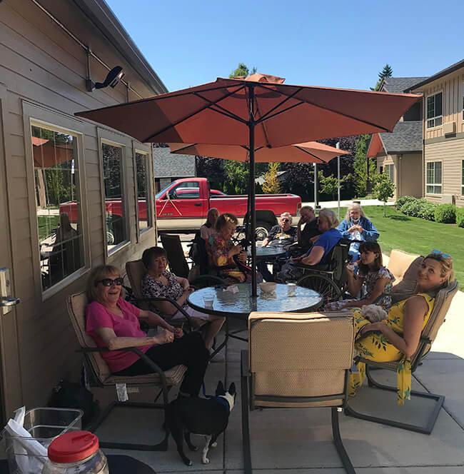 seniors on a sunny patio