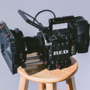 professional video camera on stool