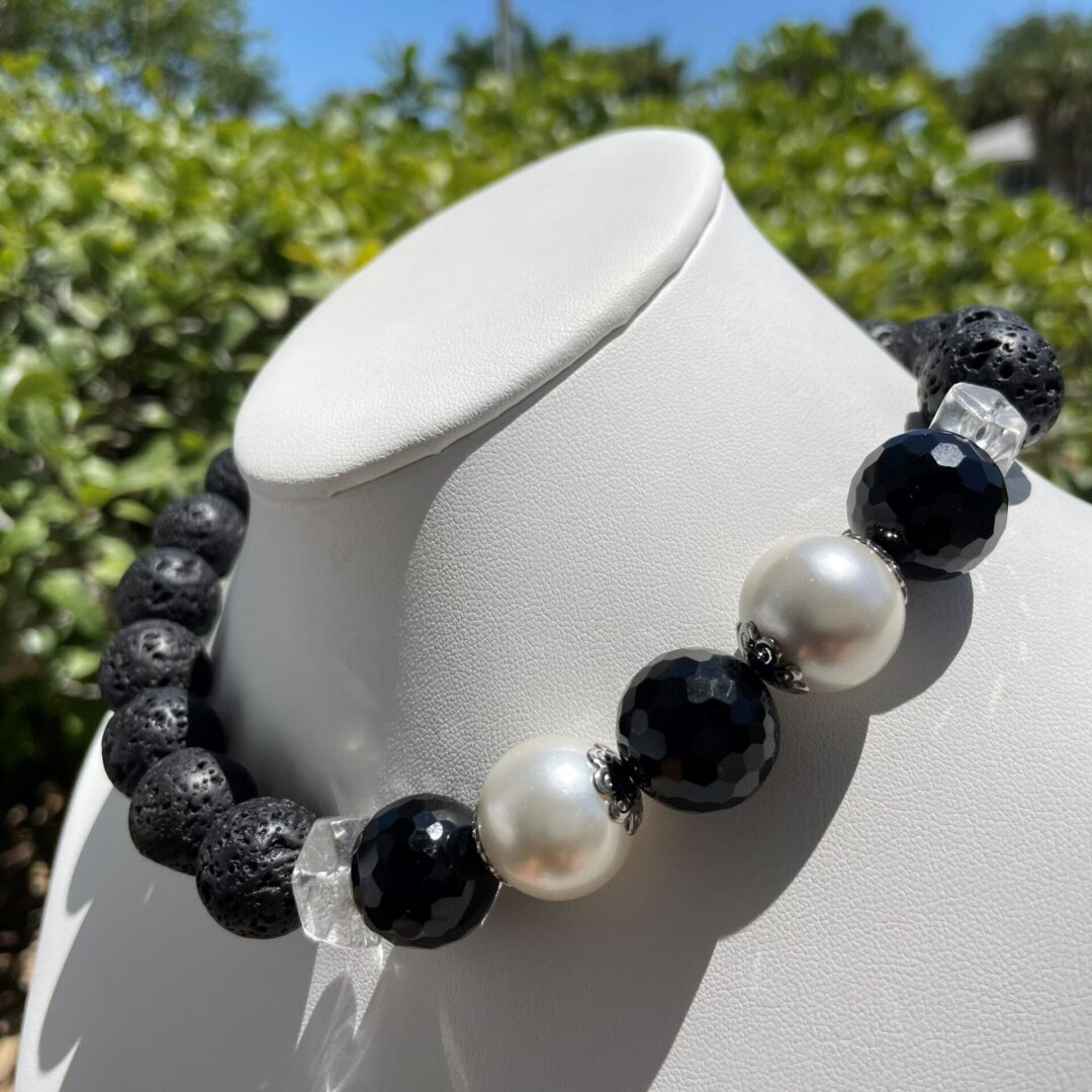 Black and White Lava Necklace by Rockweyer pic 2