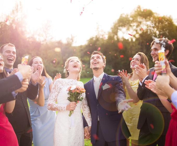 image: wedding throwing flowers