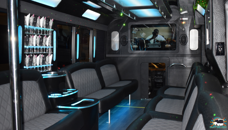 26 PAX Black Interior by the NYC Party Bus Pros