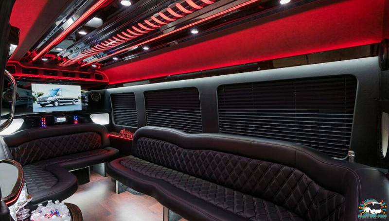 Sprinter Party Bus Interior by the NYC Party Bus Pros