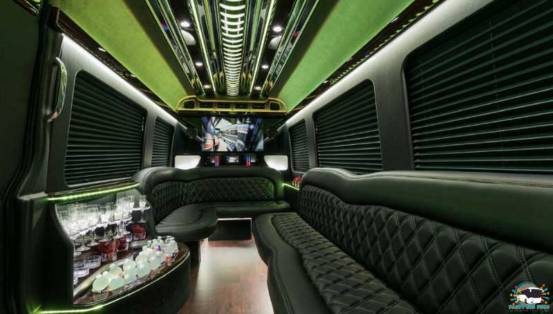 Sprinter Party Bus Interior Lights by the NYC Party Bus Pros