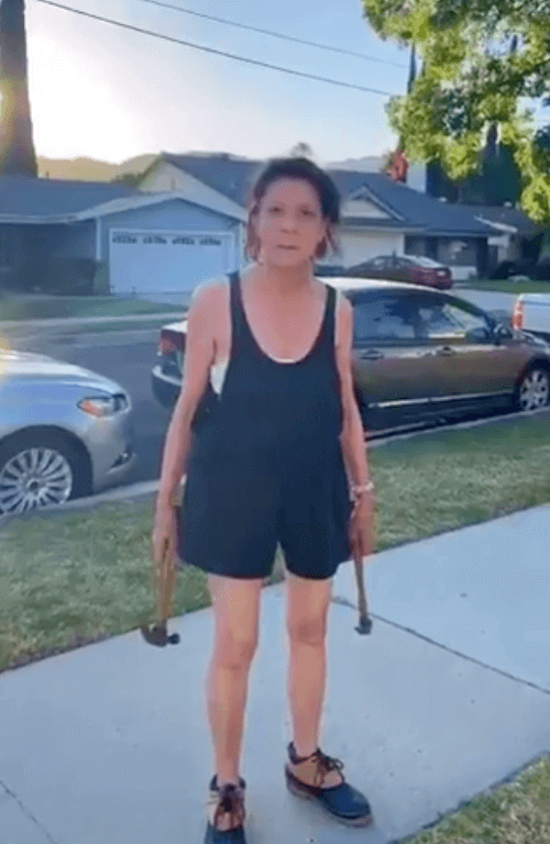 A racist woman in Los Angeles brought hammers to a face-off with her neighbors
