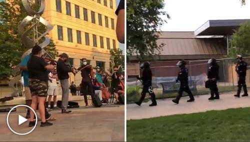 Cops in Aurora Pepper Spray Peaceful Protesters at Violin Vigil For ELIJAH MCCLAIN