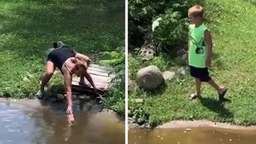 MadCap Woman and Young Son Climbed Into A Crocodile Pit To Fetch Her Floating Wallet