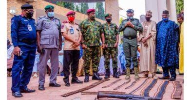 Four bandits surrenders arms, anti aircraft guns, rocket launchers, live ammunitions to Zamfara State Govt