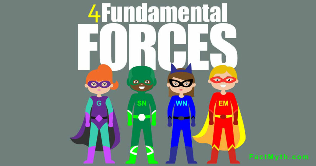 "four superheros and text ""4 fundamental forces"""