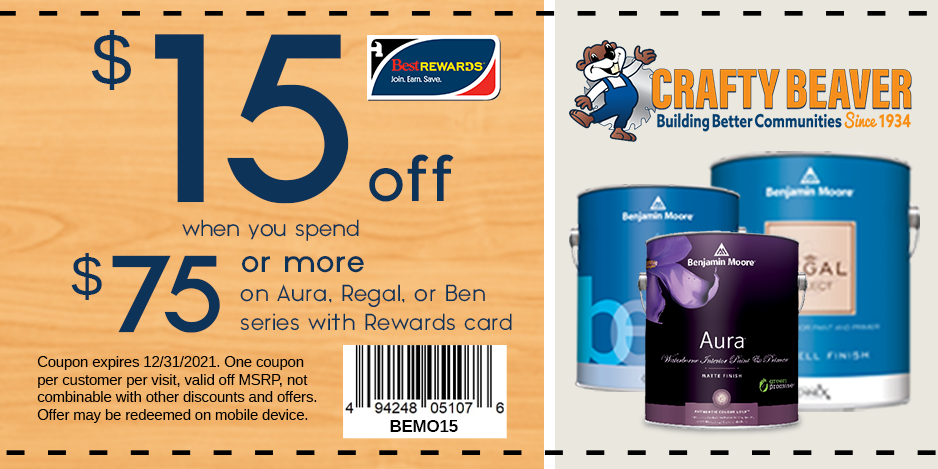 $15 off when you spend $75 or more on Aura, Regal, or ben series with Rewards Card. Offer expires 12/31/2021.
