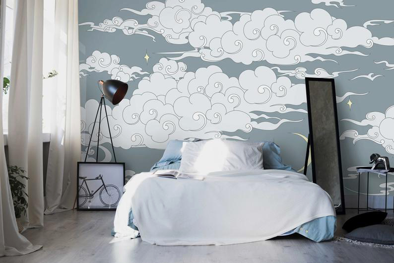 La pared la pintamos con papel