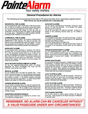 Pointe Alarm General Procedures