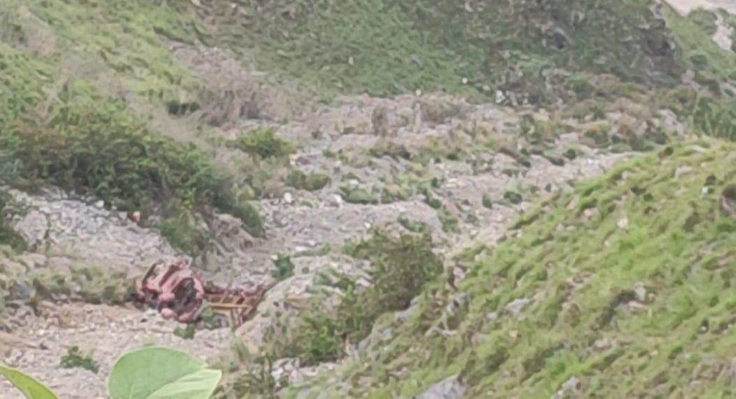 रोनहाट मार्ग पर पिकअप दुर्घटनाग्रस्त, चालक की मौके पर मौत, एक व्यक्ति गंभीर घायल
