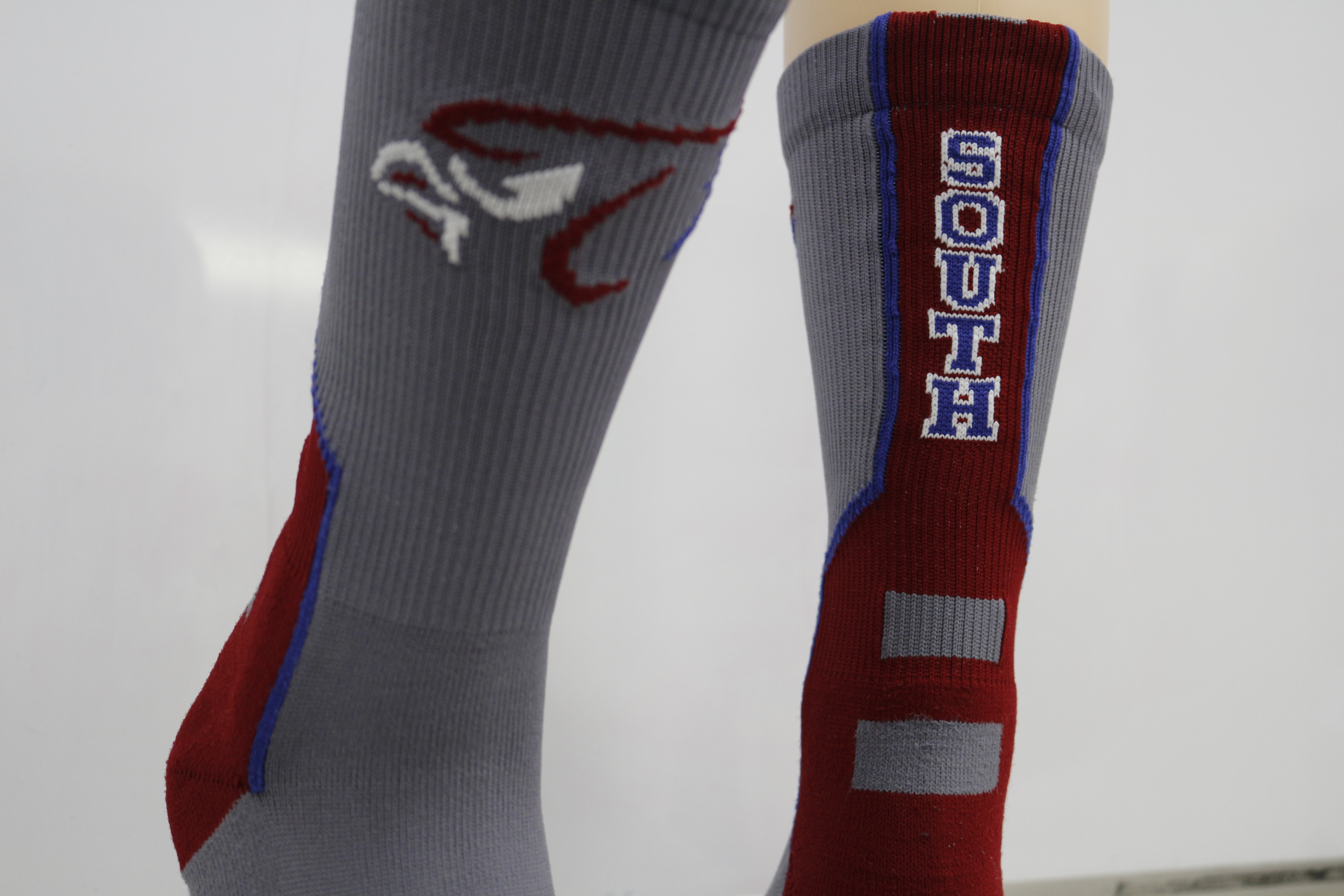 gallery sock sample south maroon and grey