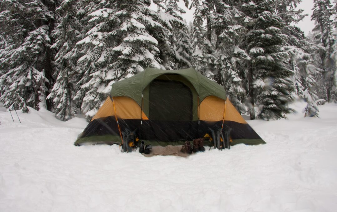 tent pitched in snow