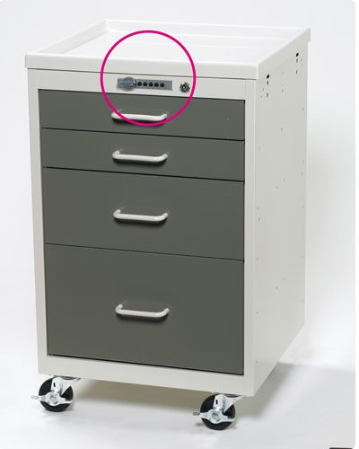 Anesthesia Carts (Mini Push Button Lock - 4 Drawer Cart)