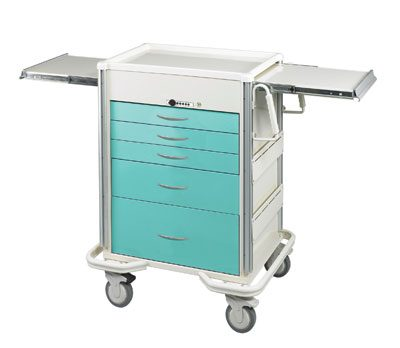 Anesthesia Carts (SELECT Push Button Lock - 5 Drawer Cart)
