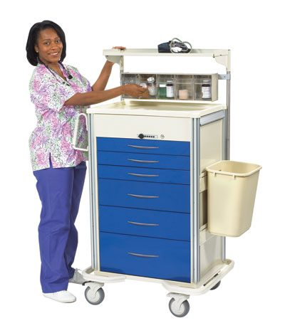 Anesthesia Carts (SELECT Push Button Lock - 6 Drawer Cart)