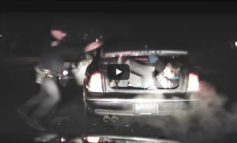 Video: Fugitive leaps out of car trunk, struggles with Idaho cop