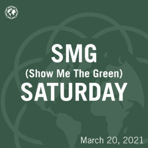 """Text saying """"SMG Saturday"""" on a dark green background"""