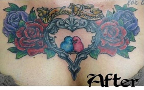 After Coverup Tattoo on Chest