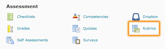 rubrics icon in edit course section