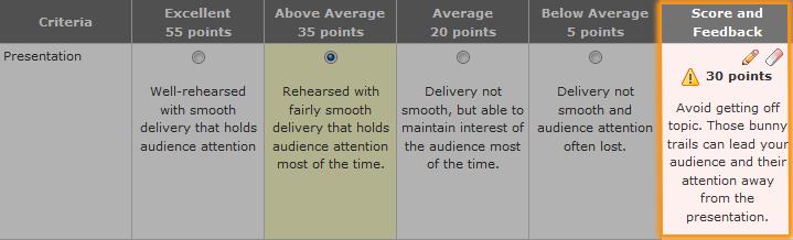 rubric showing criterion feedback