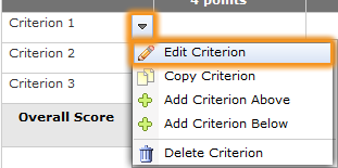 Edit Criterion dropdown list