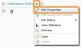 Edit Properties dropdown