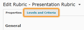 levels and criteria Tab