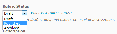 rubric Status dropdown