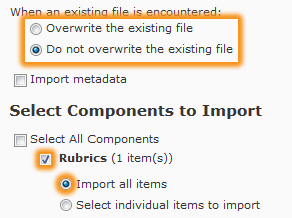 Selected components to import