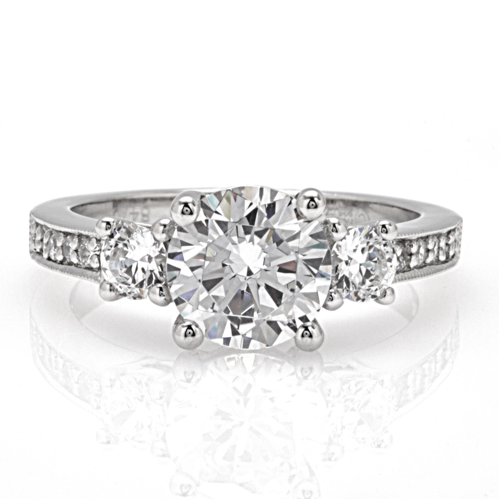 The Brookline Round Brilliant 3 Stone Engagement Ring Image
