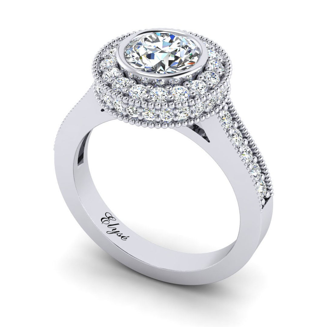 The Franklin Round Brilliant Halo Engagement Ring Image
