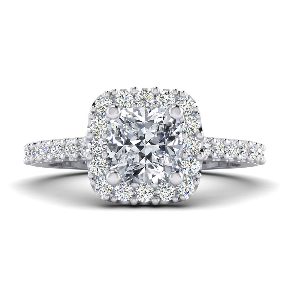 The Hanover Cushion Cut Halo Engagement Ring Image