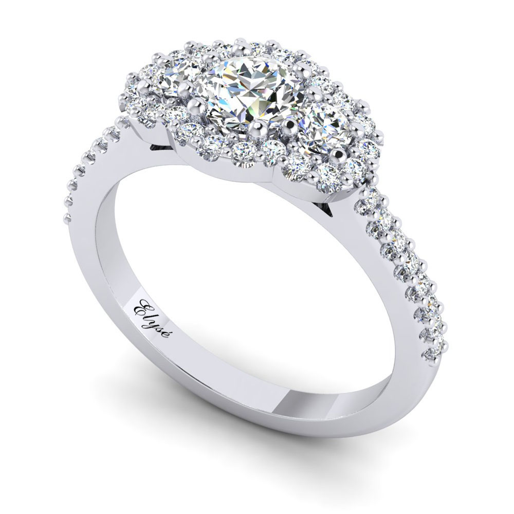 The Arborway Round Brilliant Halo 3 Stone Engagement Ring Image