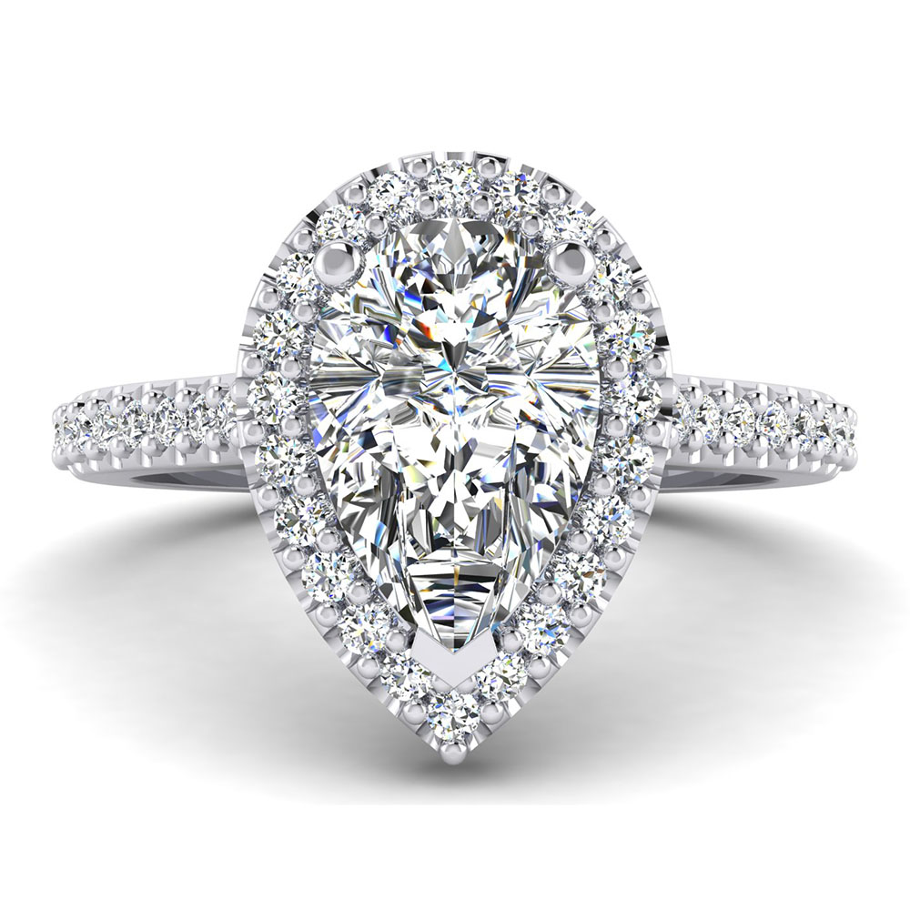 The Hanover Pear Brilliant Halo Engagement Ring Image