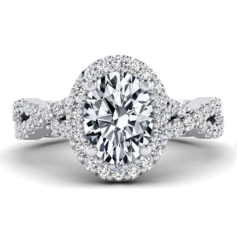 The Atlantic Oval Brilliant Halo Engagement Ring Image