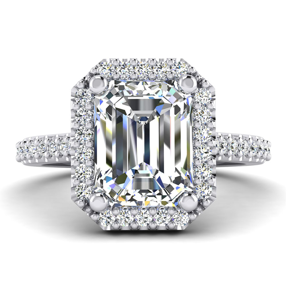 The Hanover Emerald Cut Halo Engagement Ring Image