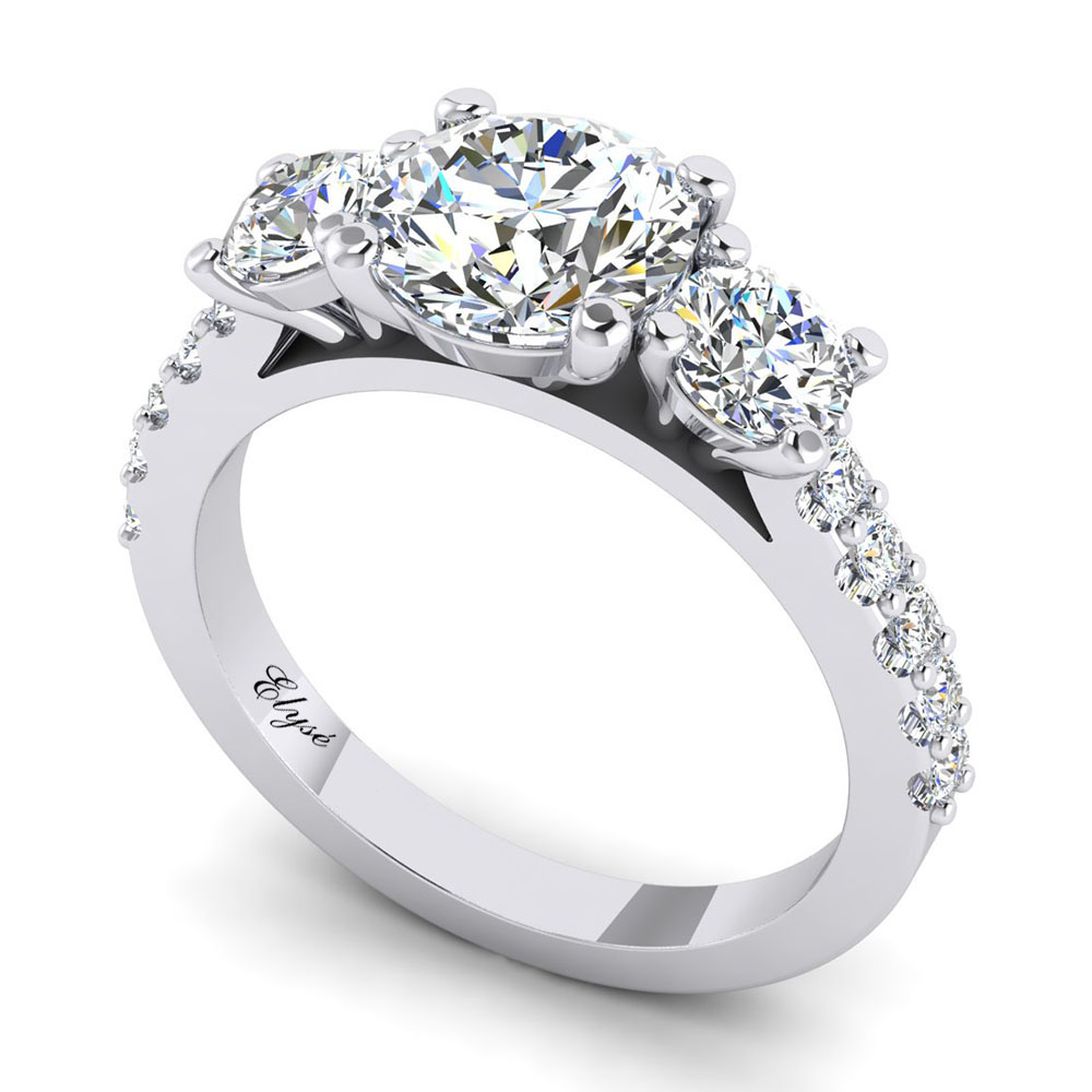 The Beacon Round Brilliant 3 Stone Engagement Ring Image