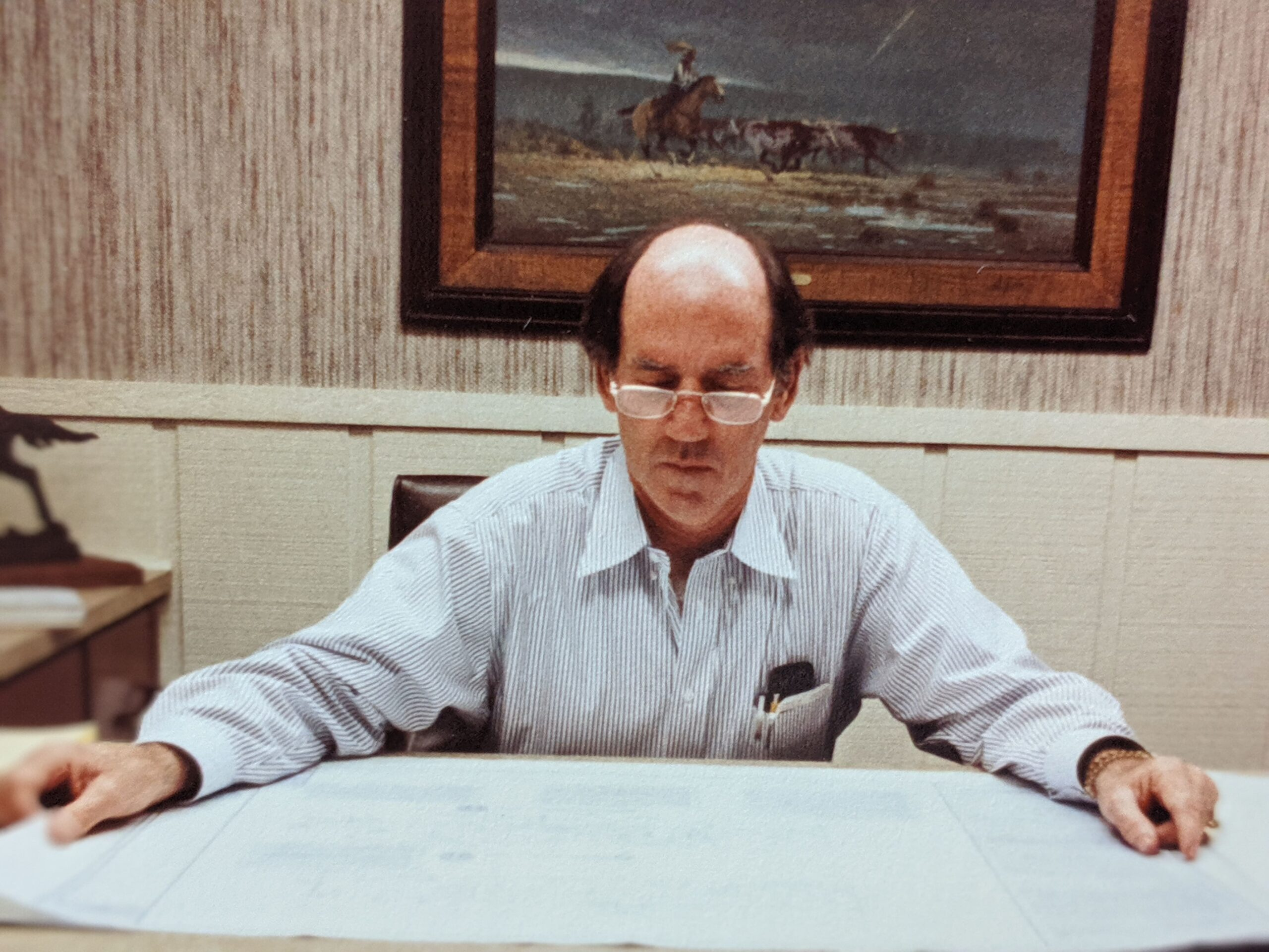 Corky Bosworth Reviewing Plans