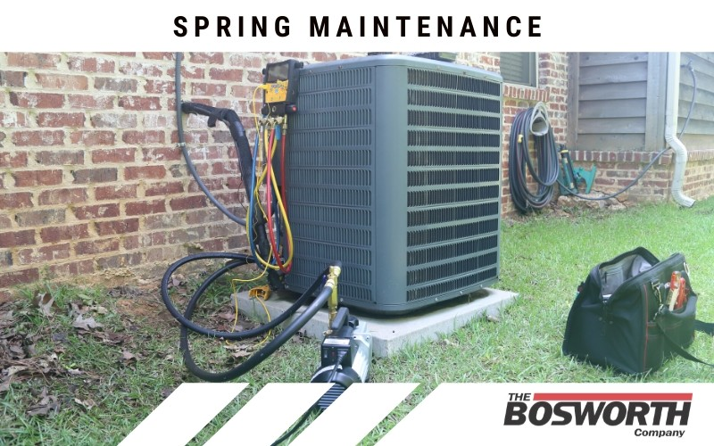 spring maintenance being performed on a home HVAC unit