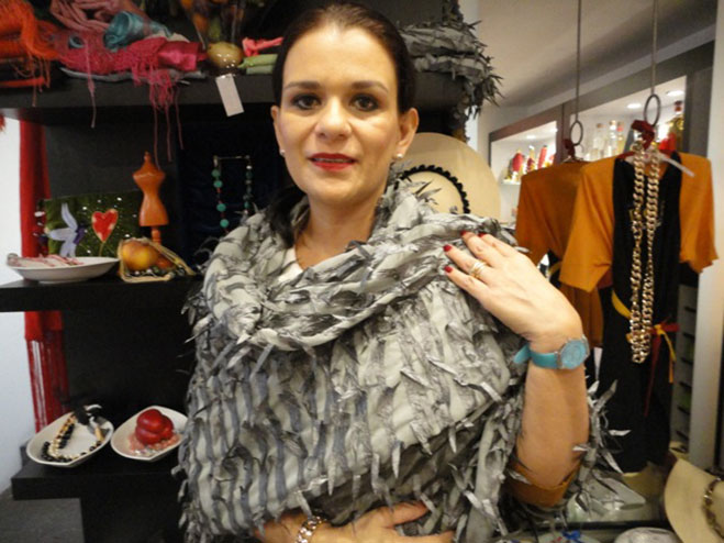 Rose Thierry with a texture hand made shawl