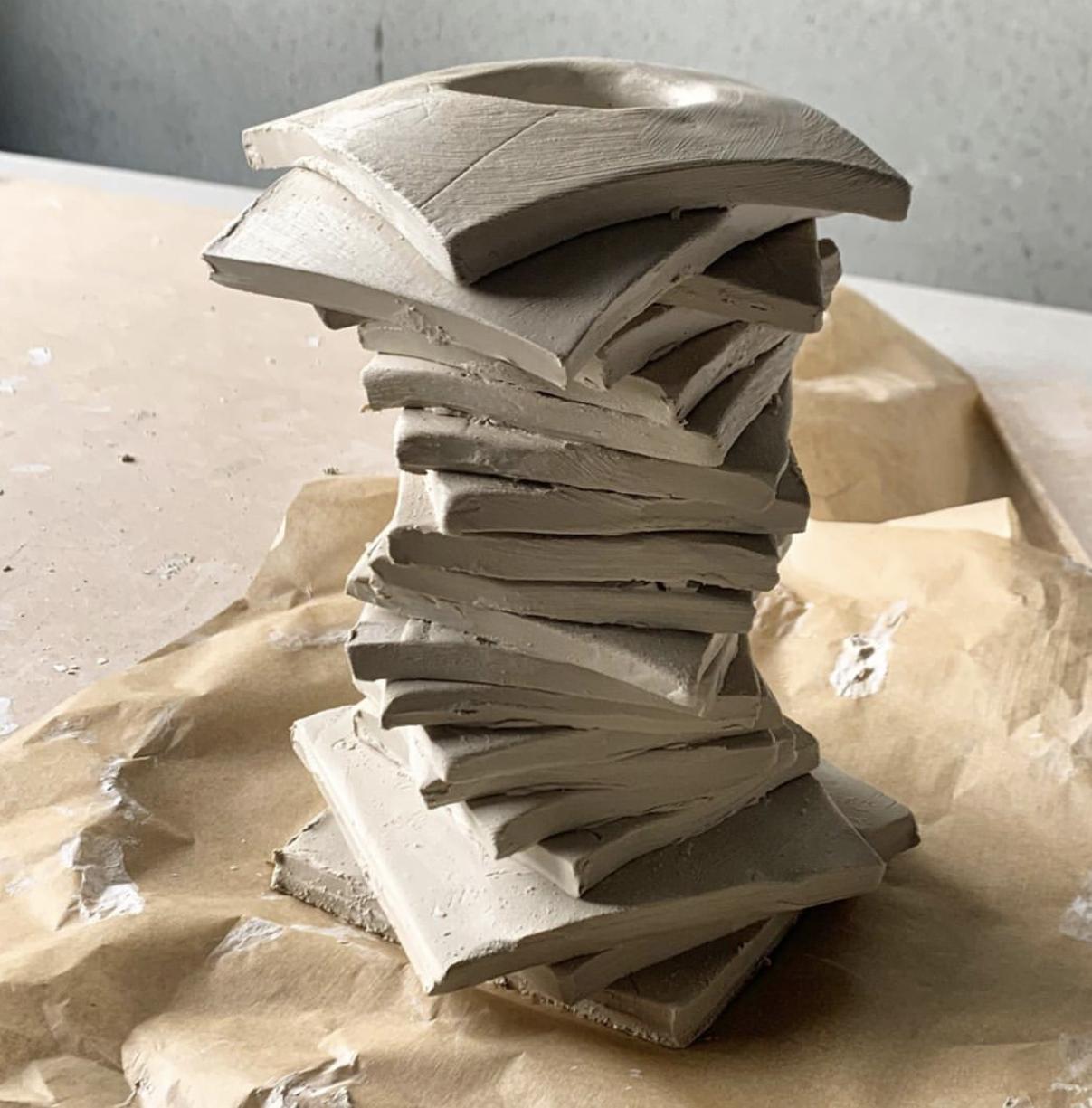 Ben Mazey clay sculptures work in progress