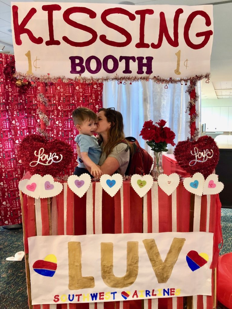 Kissing Booth During Valentine's Day at the Southwest Ticket Counter