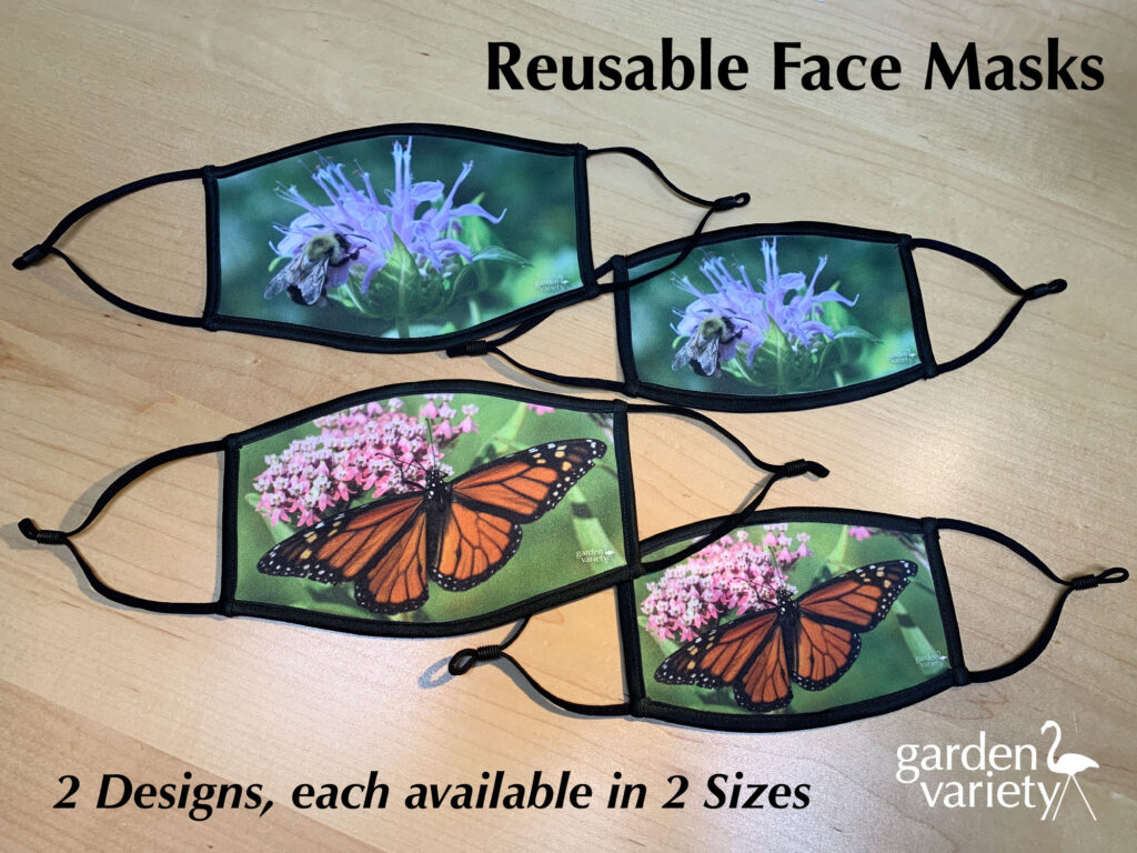 3-layer reusable reversible face masks, available in 2 sizes and 2 designs