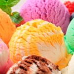 Scoops of colorful ice cream