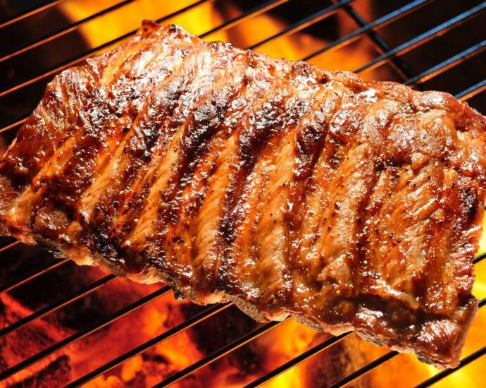 ribs on an open fire