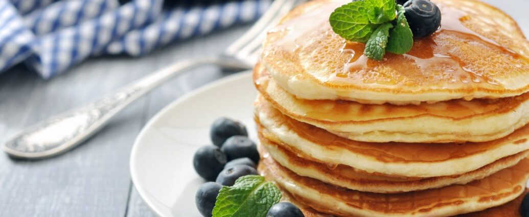 stack of pancakes with blueberries on top